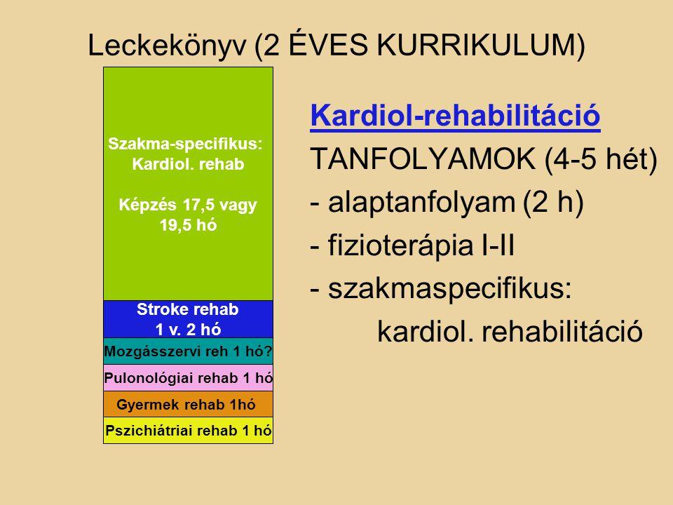 Leckekönyv (2 ÉVES KURRIKULUM) Kardiol-rehabilitáció TANFOLYAMOK (4-5 hét) - alaptanfolyam (2 h) - fizioterápia I-II - szakmaspecifikus: kardiol.