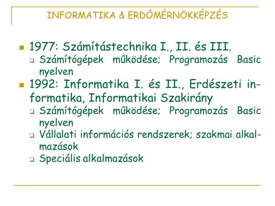 INFORMATIKA & ERDŐMÉRNÖKKÉPZÉS  1977: Számítástechnika I., II.