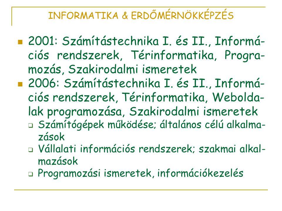INFORMATIKA & ERDŐMÉRNÖKKÉPZÉS  2001: Számítástechnika I.