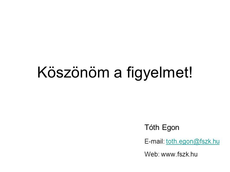 Köszönöm a figyelmet! Tóth Egon E-mail: toth.egon@fszk.hutoth.egon@fszk.hu Web: www.fszk.hu