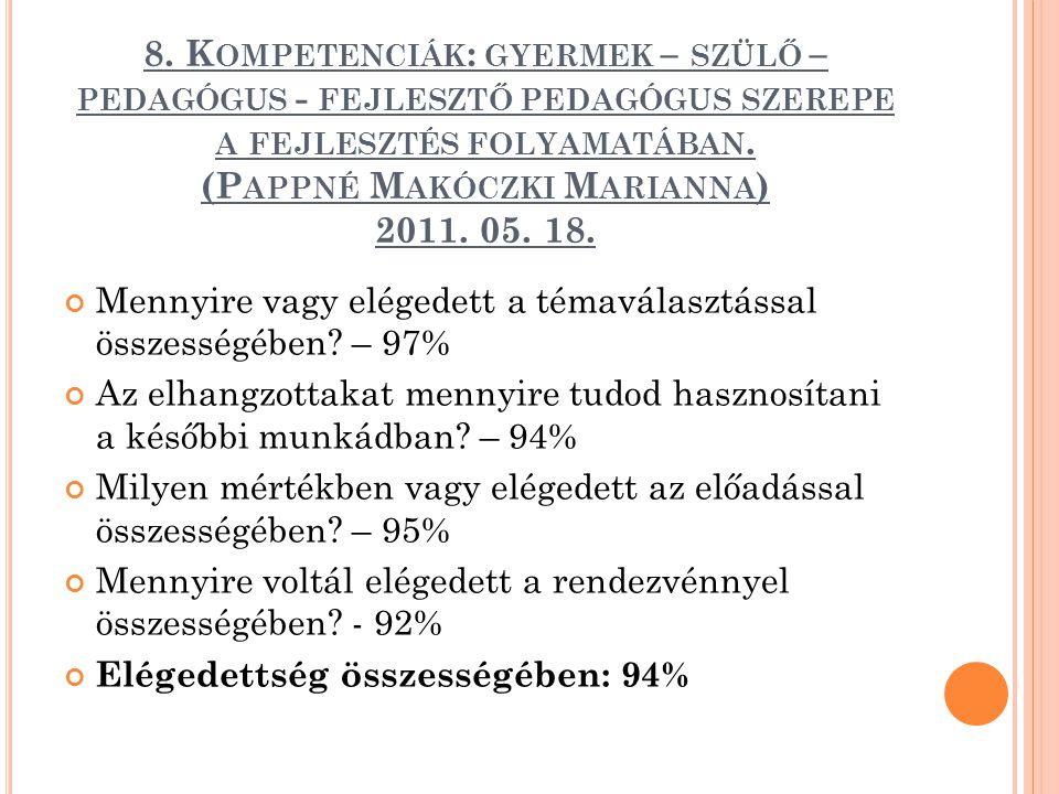 8. K OMPETENCIÁK : GYERMEK – SZÜLŐ – PEDAGÓGUS - FEJLESZTŐ PEDAGÓGUS SZEREPE A FEJLESZTÉS FOLYAMATÁBAN. (P APPNÉ M AKÓCZKI M ARIANNA ) 2011. 05. 18. M