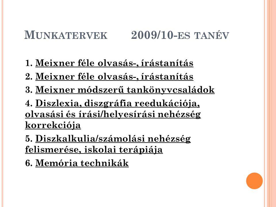 M UNKATERVEK 2009/10- ES TANÉV 1. Meixner féle olvasás-, írástanítás 2. Meixner féle olvasás-, írástanítás 3. Meixner módszerű tankönyvcsaládok 4. Dis