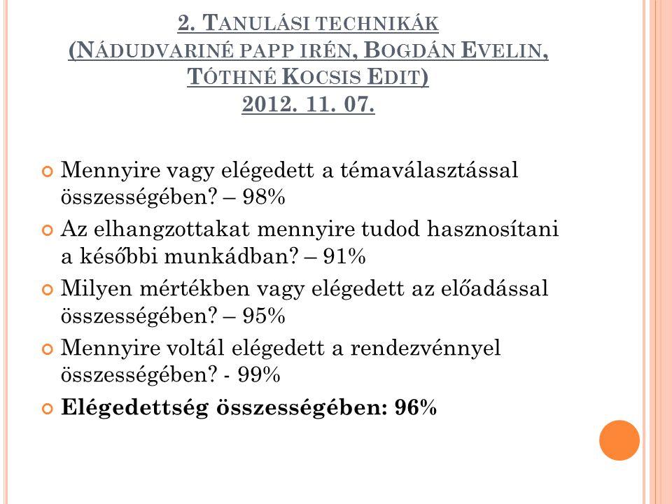 2. T ANULÁSI TECHNIKÁK (N ÁDUDVARINÉ PAPP IRÉN, B OGDÁN E VELIN, T ÓTHNÉ K OCSIS E DIT ) 2012. 11. 07. Mennyire vagy elégedett a témaválasztással össz