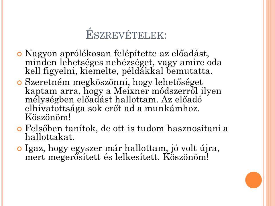 7.T ANULÁSTECHNIKAI PRAKTIKÁK TRÉNINGJE (B OGDÁN E VELIN ) 2011.