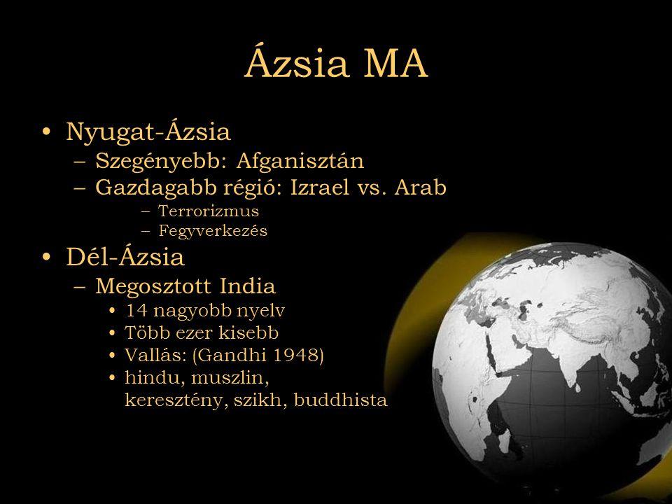2007.08.03Az el nem kötelezettek Ázsia MA •Nyugat-Ázsia –Szegényebb: Afganisztán –Gazdagabb régió: Izrael vs. Arab –Terrorizmus –Fegyverkezés •Dél-Ázs