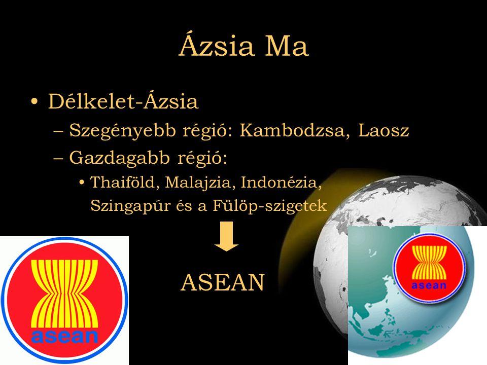 2007.08.03Az el nem kötelezettek Ázsia Ma •Délkelet-Ázsia –Szegényebb régió: Kambodzsa, Laosz –Gazdagabb régió: •Thaiföld, Malajzia, Indonézia, Szinga