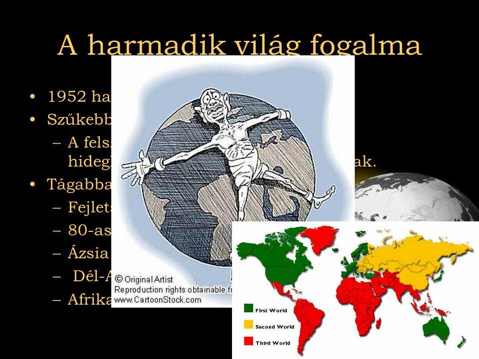 2007.08.03Az el nem kötelezettek A harmadik világ fogalma •1952 használják mint fogalom •Szűkebben értelmezve: –A felszabadult gyarmatok, akik a hideg