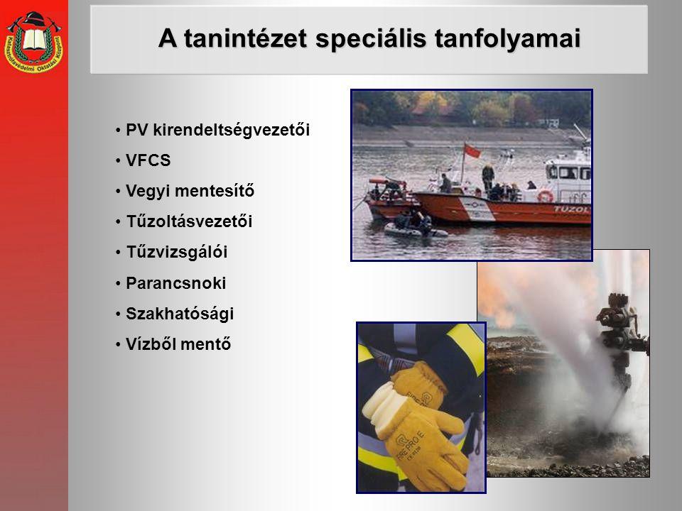 • PV kirendeltségvezetői • VFCS • Vegyi mentesítő • Tűzoltásvezetői • Tűzvizsgálói • Parancsnoki • Szakhatósági • Vízből mentő A tanintézet speciális