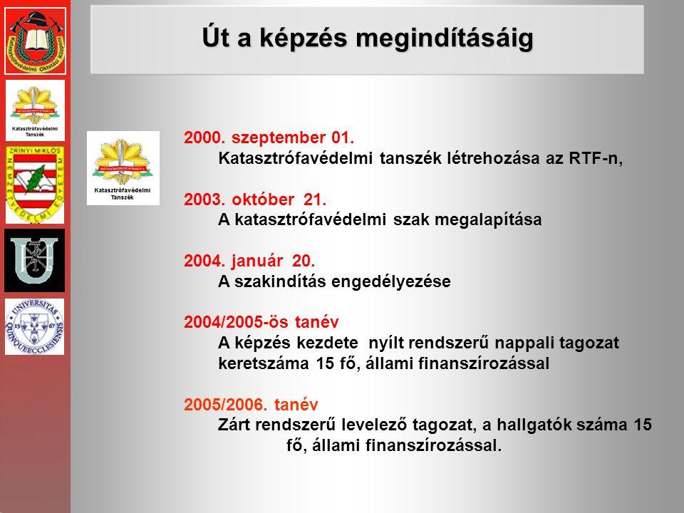 2000. szeptember 01. Katasztrófavédelmi tanszék létrehozása az RTF-n, 2003. október 21. A katasztrófavédelmi szak megalapítása 2004. január 20. A szak