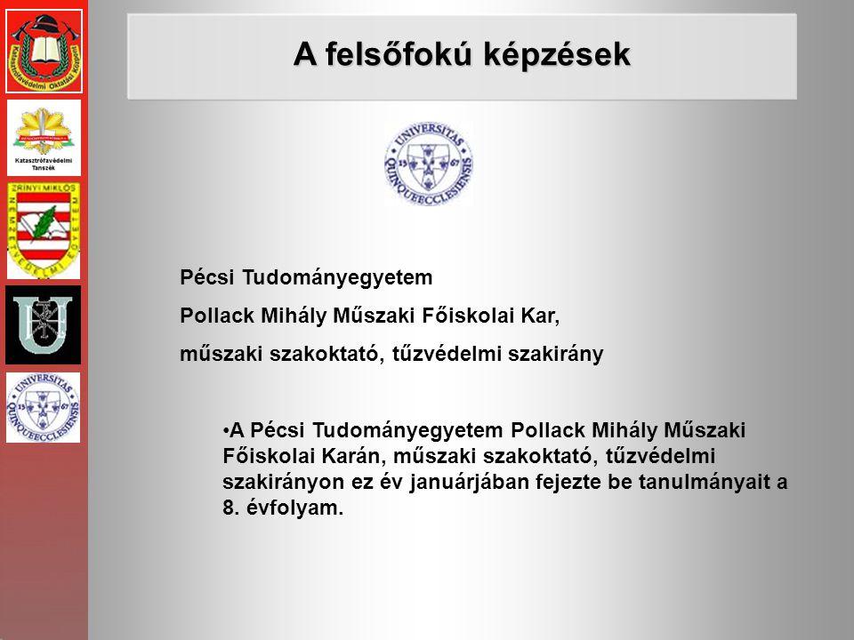 Pécsi Tudományegyetem Pollack Mihály Műszaki Főiskolai Kar, műszaki szakoktató, tűzvédelmi szakirány •A Pécsi Tudományegyetem Pollack Mihály Műszaki F