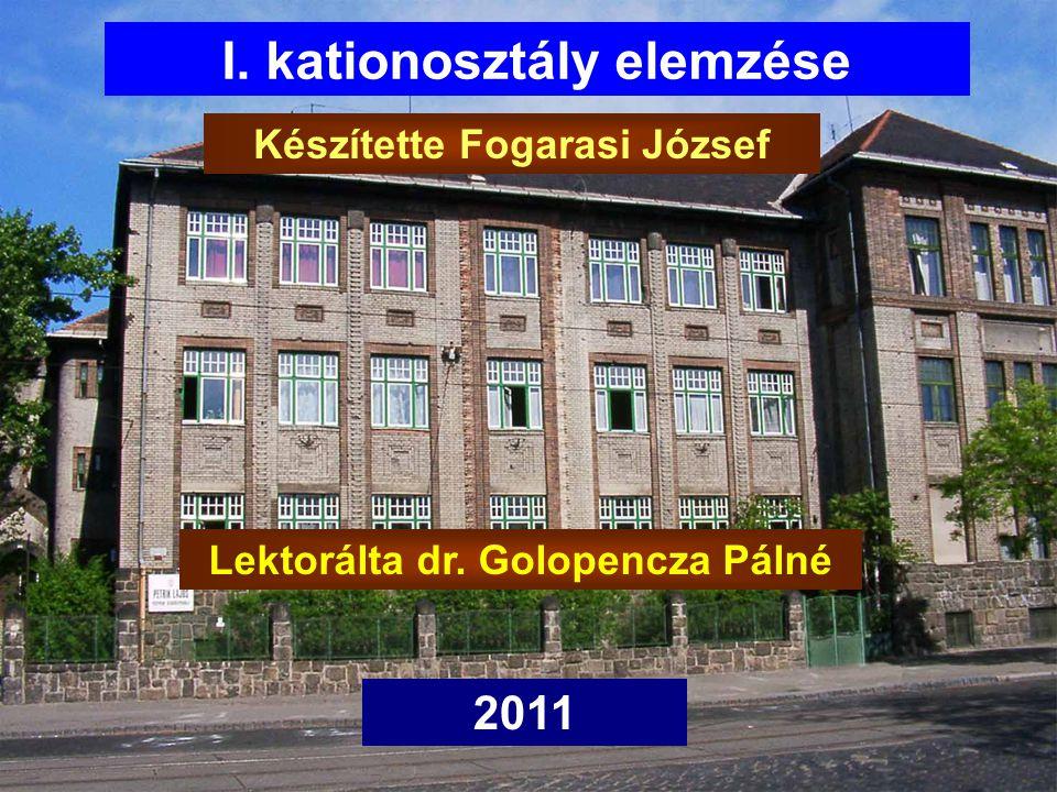 I. kationosztály elemzése Készítette Fogarasi József 2011 Lektorálta dr. Golopencza Pálné