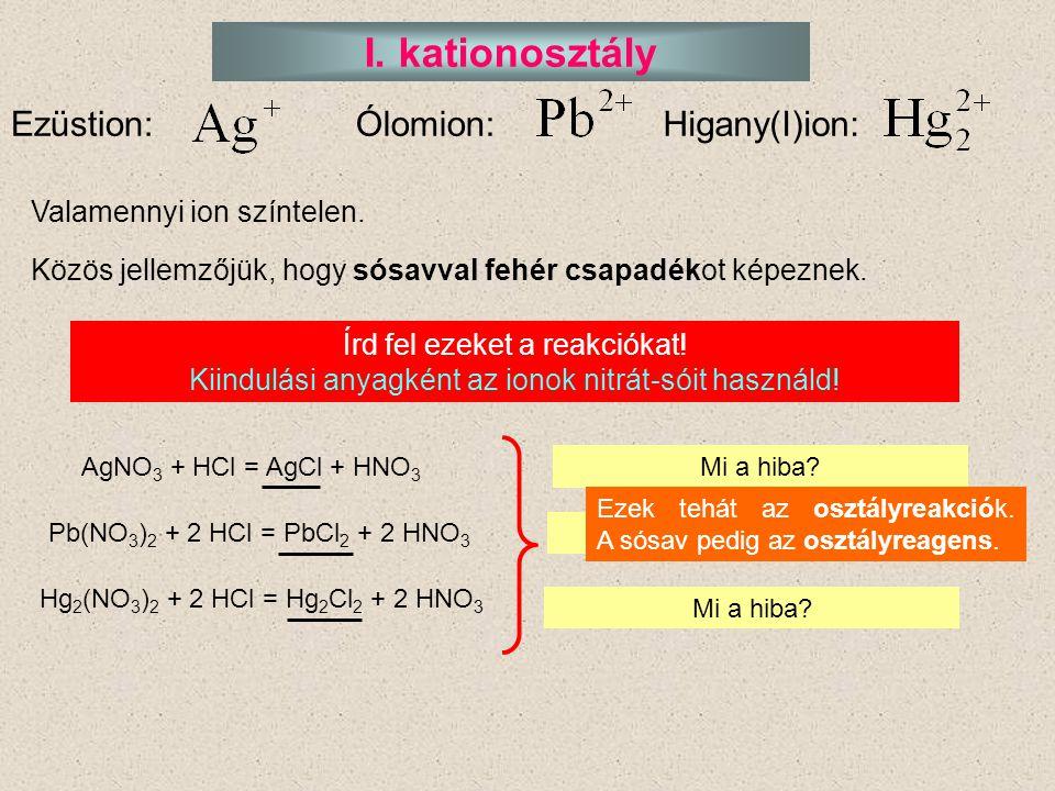 I. kationosztály Ezüstion:Ólomion:Higany(I)ion: Valamennyi ion színtelen. Közös jellemzőjük, hogy sósavval fehér csapadékot képeznek. Írd fel ezeket a
