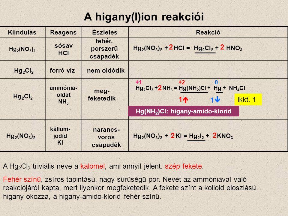A higany(I)ion reakciói KiindulásReagensÉszlelésReakció Hg 2 (NO 3 ) 2 fehér, porszerű csapadék meg- feketedik ammónia- oldat NH 3 sósav HCl Hg 2 Cl 2