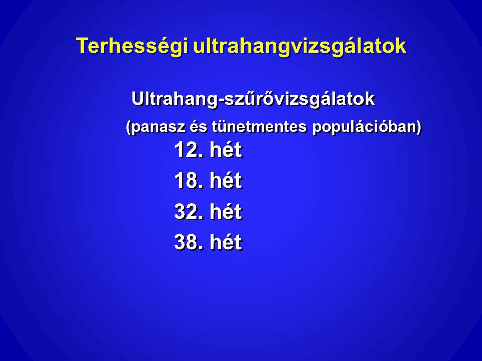 Terhességi ultrahangvizsgálatok Ultrahang-szűrővizsgálatok (panasz és tünetmentes populációban) 12. hét 18. hét 32. hét 38. hét Ultrahang-szűrővizsgál