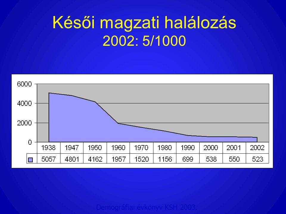 Késői magzati halálozás 2002: 5/1000 Demográfiai évkönyv KSH 2003.