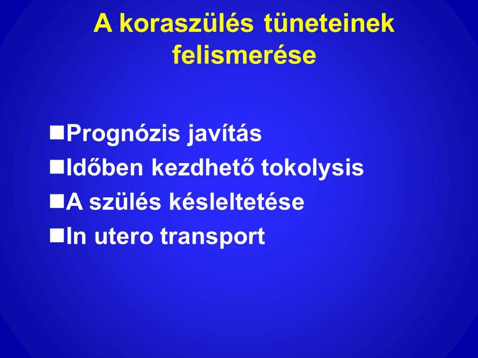 A koraszülés tüneteinek felismerése  Prognózis javítás  Időben kezdhető tokolysis  A szülés késleltetése  In utero transport