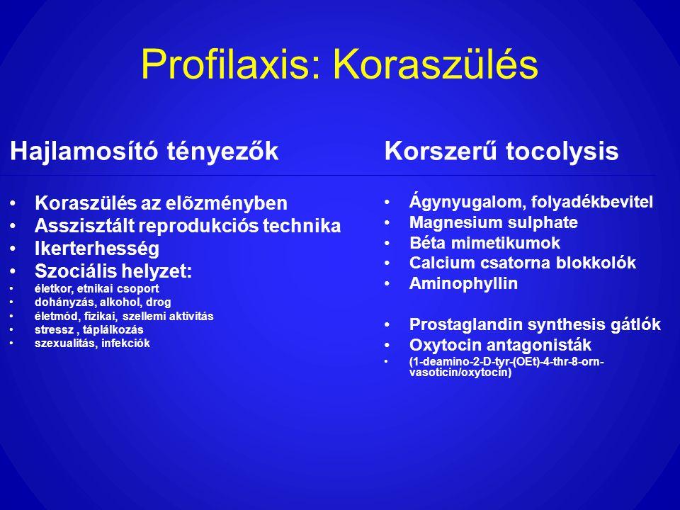 Profilaxis: Koraszülés Hajlamosító tényezők •Koraszülés az elõzményben •Asszisztált reprodukciós technika •Ikerterhesség •Szociális helyzet: •életkor,