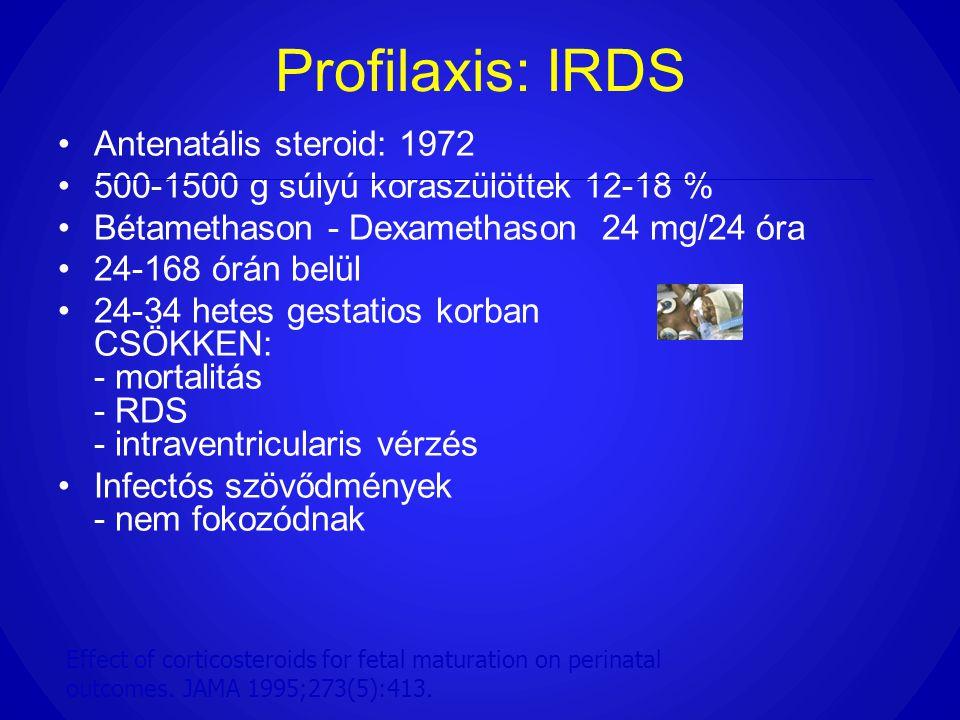 Profilaxis: IRDS •Antenatális steroid: 1972 •500-1500 g súlyú koraszülöttek 12-18 % •Bétamethason - Dexamethason 24 mg/24 óra •24-168 órán belül •24-3