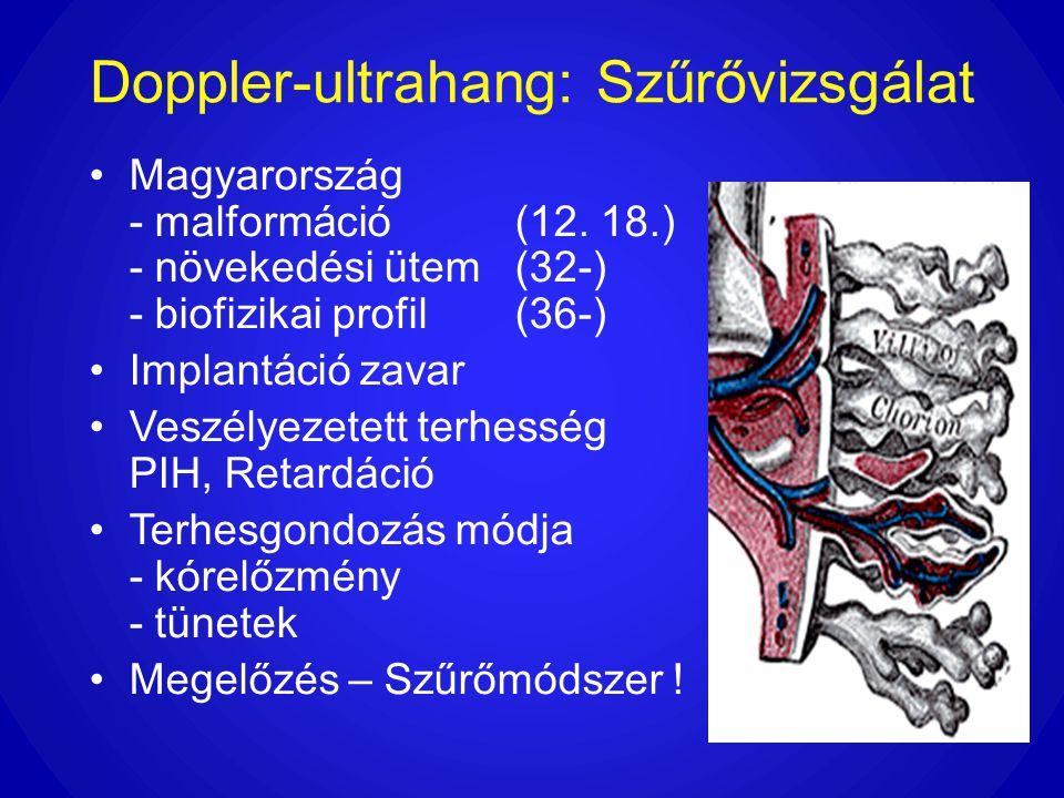 Doppler-ultrahang: Szűrővizsgálat •Magyarország - malformáció(12. 18.) - növekedési ütem (32-) - biofizikai profil (36-) •Implantáció zavar •Veszélyez