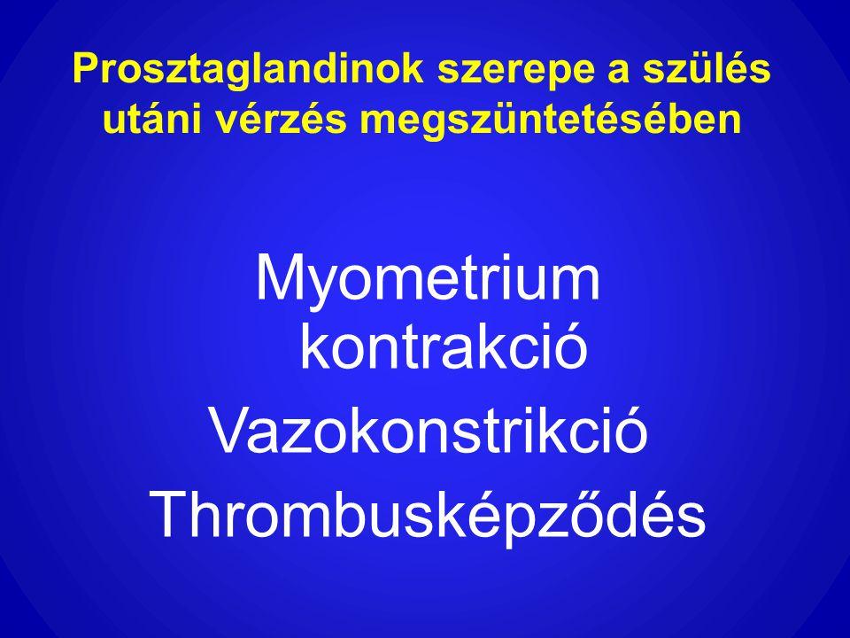Prosztaglandinok szerepe a szülés utáni vérzés megszüntetésében Myometrium kontrakció Vazokonstrikció Thrombusképződés