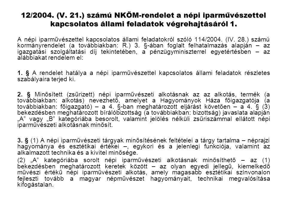 12/2004. (V. 21.) számú NKÖM-rendelet a népi iparművészettel kapcsolatos állami feladatok végrehajtásáról 1. A népi iparművészettel kapcsolatos állami