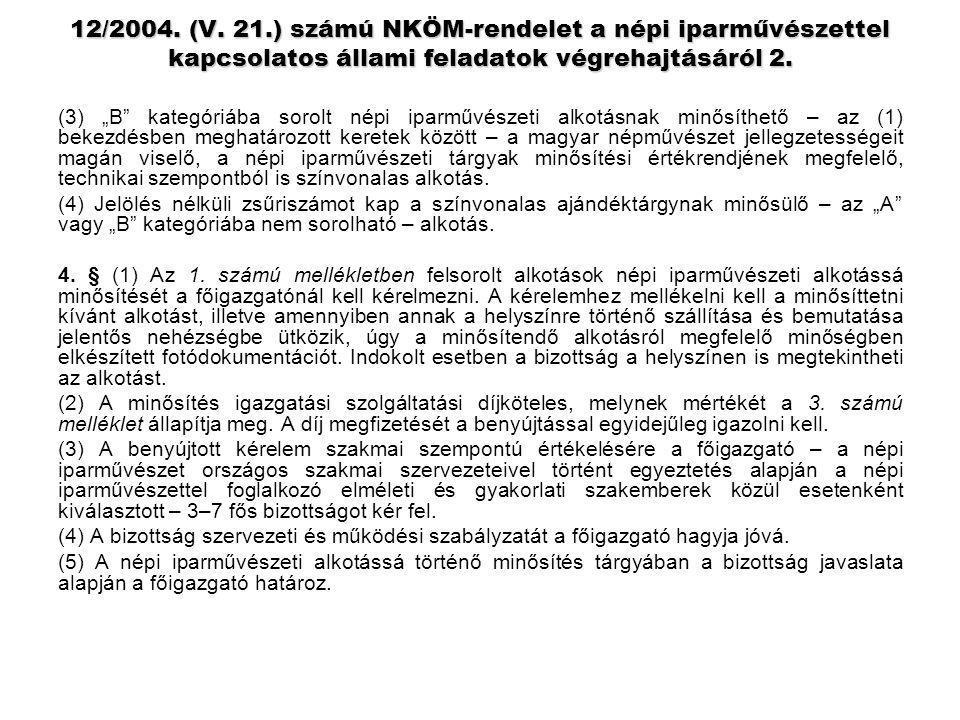 """12/2004. (V. 21.) számú NKÖM-rendelet a népi iparművészettel kapcsolatos állami feladatok végrehajtásáról 2. (3) """"B"""" kategóriába sorolt népi iparművés"""
