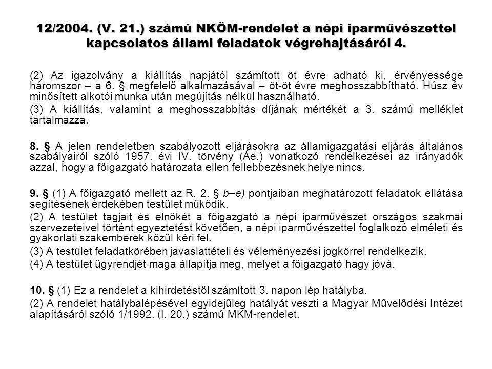 12/2004. (V. 21.) számú NKÖM-rendelet a népi iparművészettel kapcsolatos állami feladatok végrehajtásáról 4. (2) Az igazolvány a kiállítás napjától sz