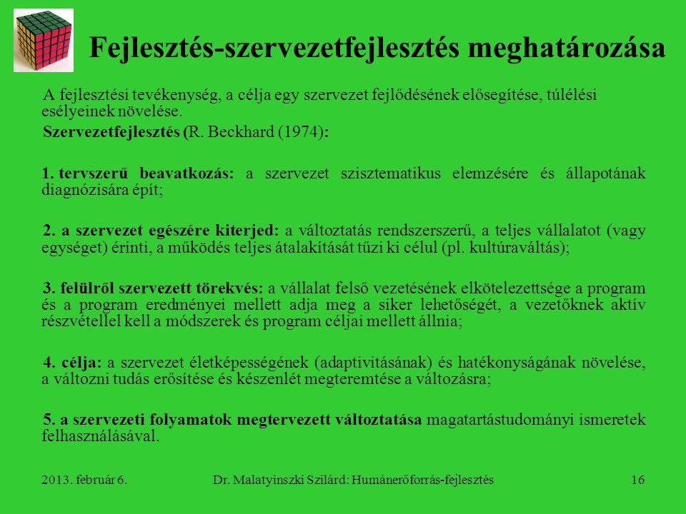 2013.február 6.Dr. Malatyinszki Szilárd: Humánerőforrás-fejlesztés17 Szervezetfejlesztés 2.