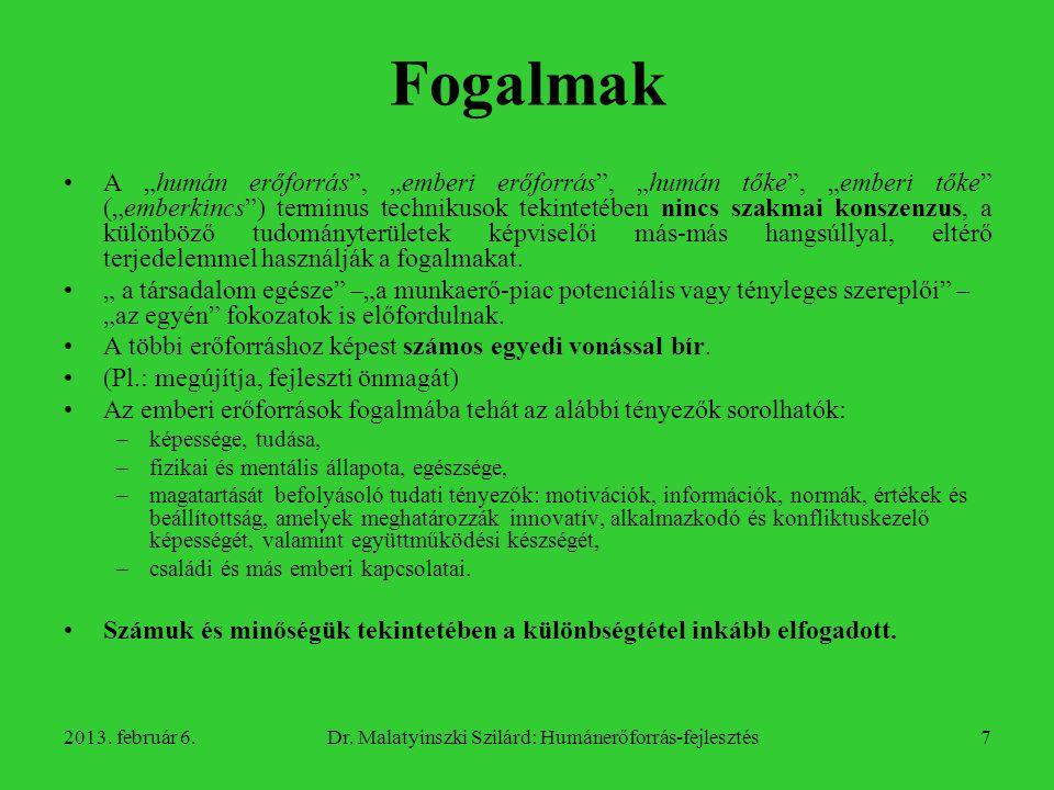 2013.február 6.Dr. Malatyinszki Szilárd: Humánerőforrás-fejlesztés8 Fogalmak 1.
