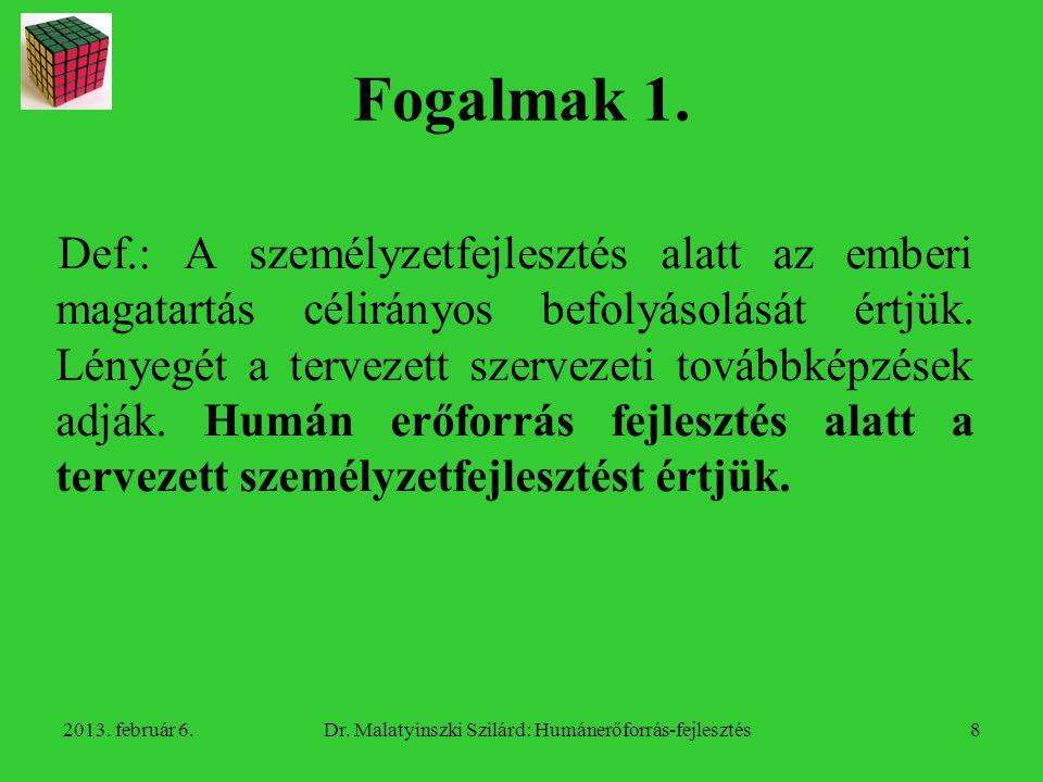 2013.február 6.Dr. Malatyinszki Szilárd: Humánerőforrás-fejlesztés9 Fogalmak 2.