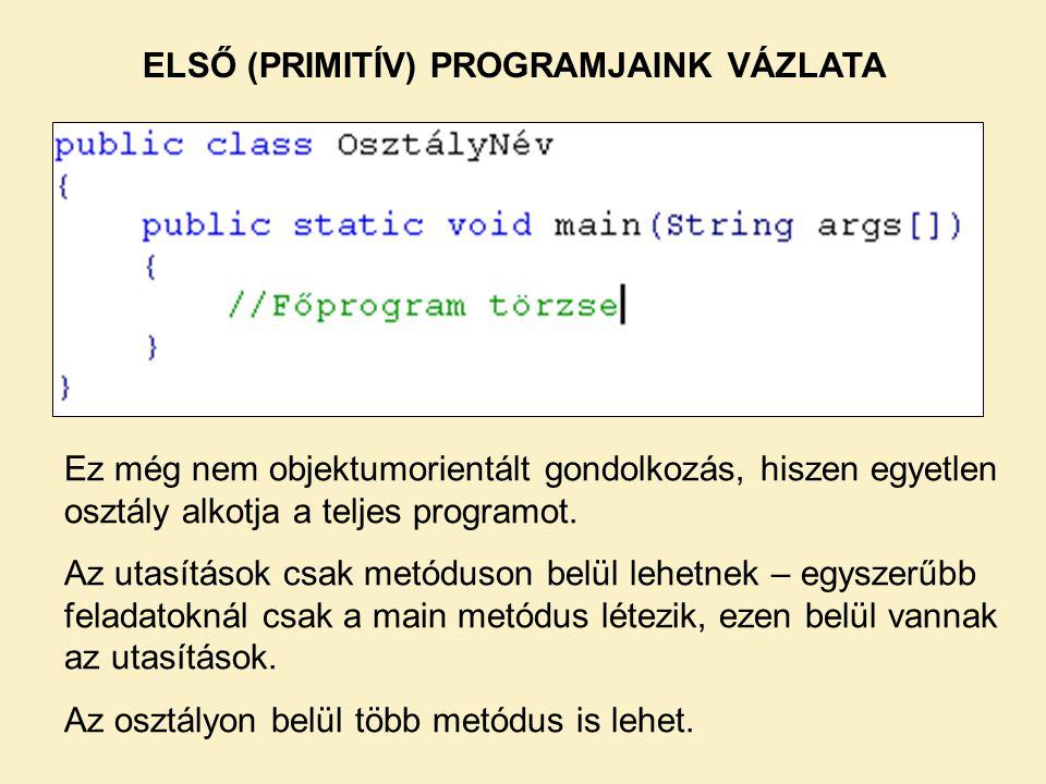 ELSŐ (PRIMITÍV) PROGRAMJAINK VÁZLATA Ez még nem objektumorientált gondolkozás, hiszen egyetlen osztály alkotja a teljes programot.