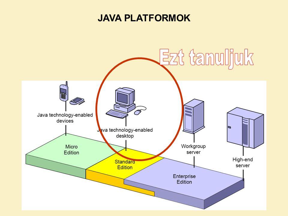 KÖRNYEZETEK Java Futtató Környezet JRE: Java Runtime Environment (tartalmazza a JVM-et (java parancs)) Ezt töltjük le a gépünkre otthon, és ez fut a mobiltelefonon is