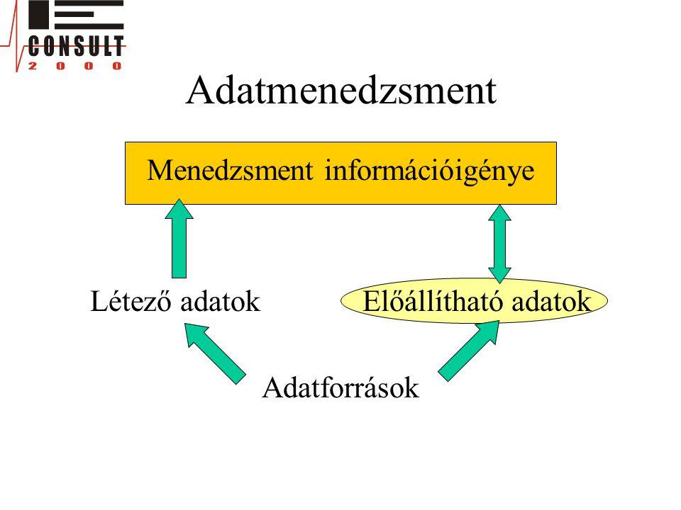 Adatmenedzsment Menedzsment információigénye Létező adatokElőállítható adatok Adatforrások