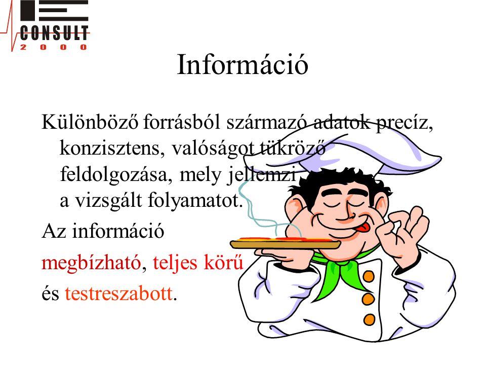 Információ Különböző forrásból származó adatok precíz, konzisztens, valóságot tükröző feldolgozása, mely jellemzi a vizsgált folyamatot. Az információ