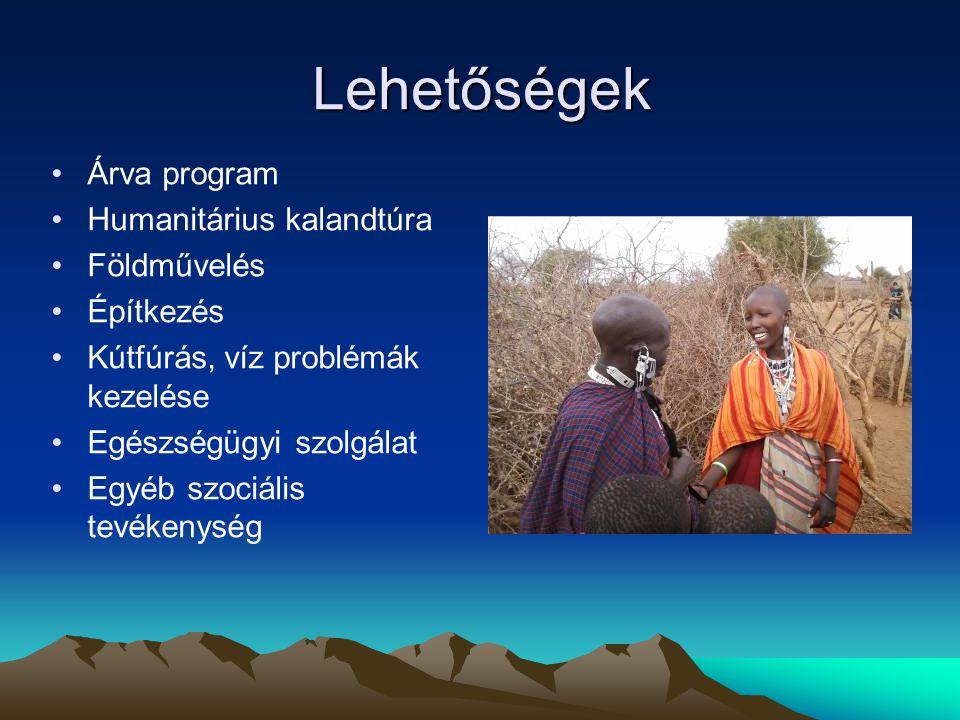 Lehetőségek •Árva program •Humanitárius kalandtúra •Földművelés •Építkezés •Kútfúrás, víz problémák kezelése •Egészségügyi szolgálat •Egyéb szociális tevékenység