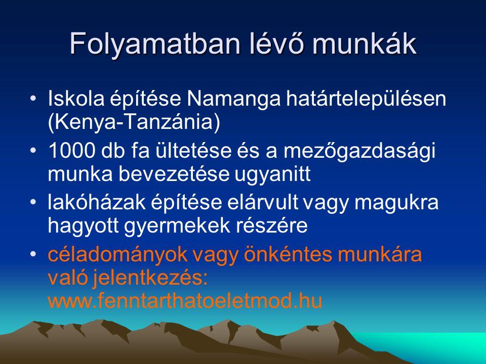 Folyamatban lévő munkák •Iskola építése Namanga határtelepülésen (Kenya-Tanzánia) •1000 db fa ültetése és a mezőgazdasági munka bevezetése ugyanitt •lakóházak építése elárvult vagy magukra hagyott gyermekek részére •céladományok vagy önkéntes munkára való jelentkezés: www.fenntarthatoeletmod.hu