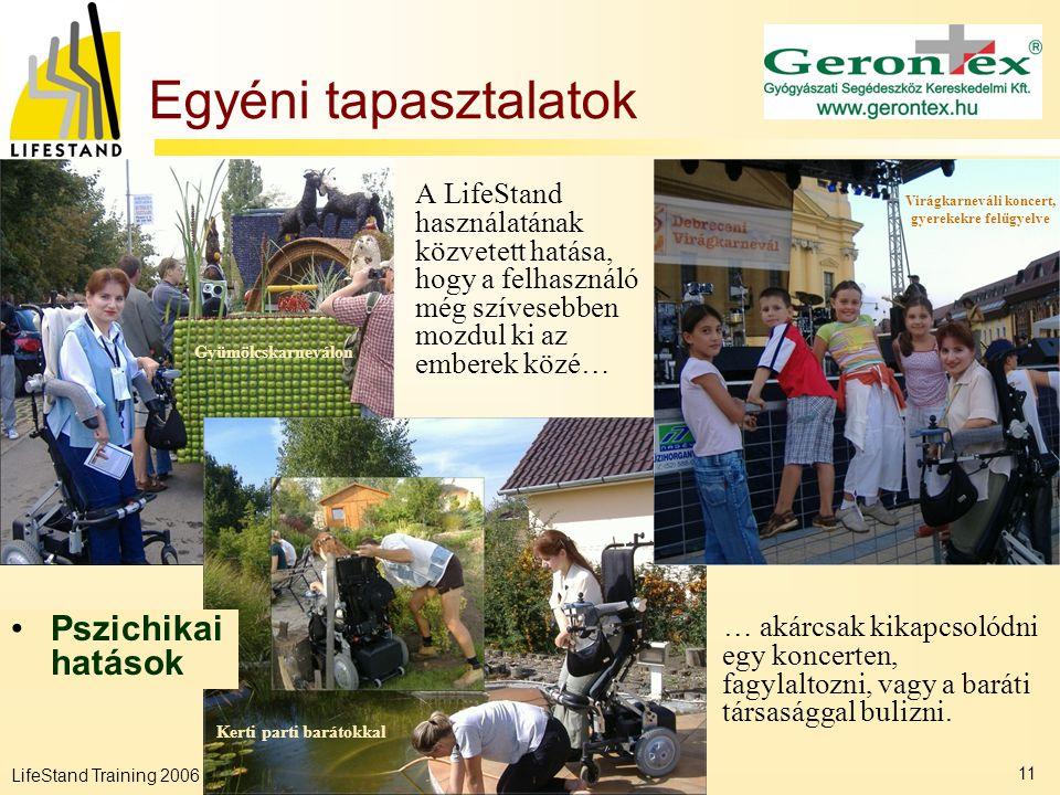 LifeStand Training 2006 11 Egyéni tapasztalatok A LifeStand használatának közvetett hatása, hogy a felhasználó még szívesebben mozdul ki az emberek kö
