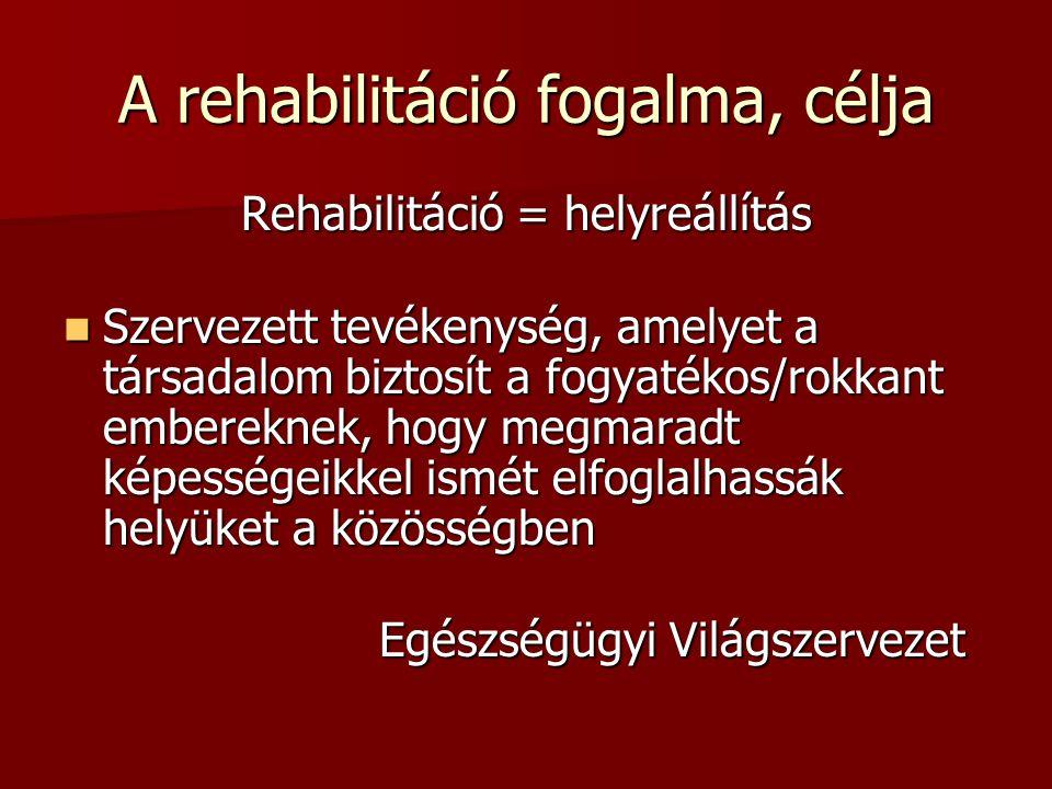 A rehabilitáció fogalma, célja Rehabilitáció = helyreállítás  Szervezett tevékenység, amelyet a társadalom biztosít a fogyatékos/rokkant embereknek,