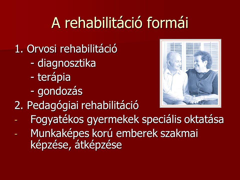 A rehabilitáció formái 1. Orvosi rehabilitáció - diagnosztika - terápia - gondozás 2. Pedagógiai rehabilitáció - Fogyatékos gyermekek speciális oktatá