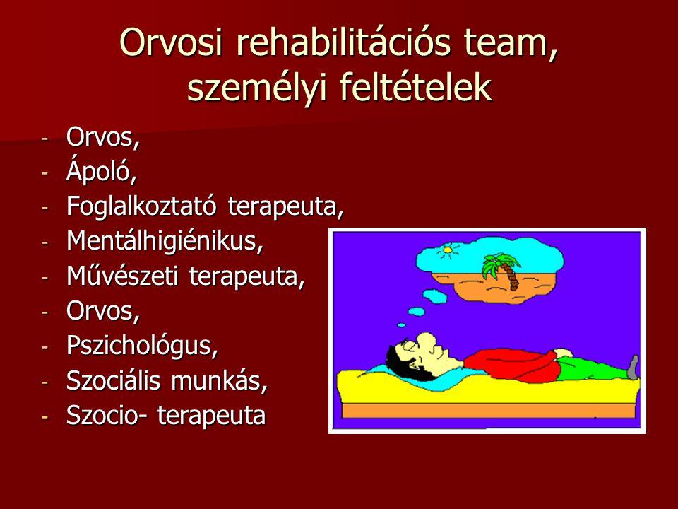 Orvosi rehabilitációs team, személyi feltételek - Orvos, - Ápoló, - Foglalkoztató terapeuta, - Mentálhigiénikus, - Művészeti terapeuta, - Orvos, - Psz