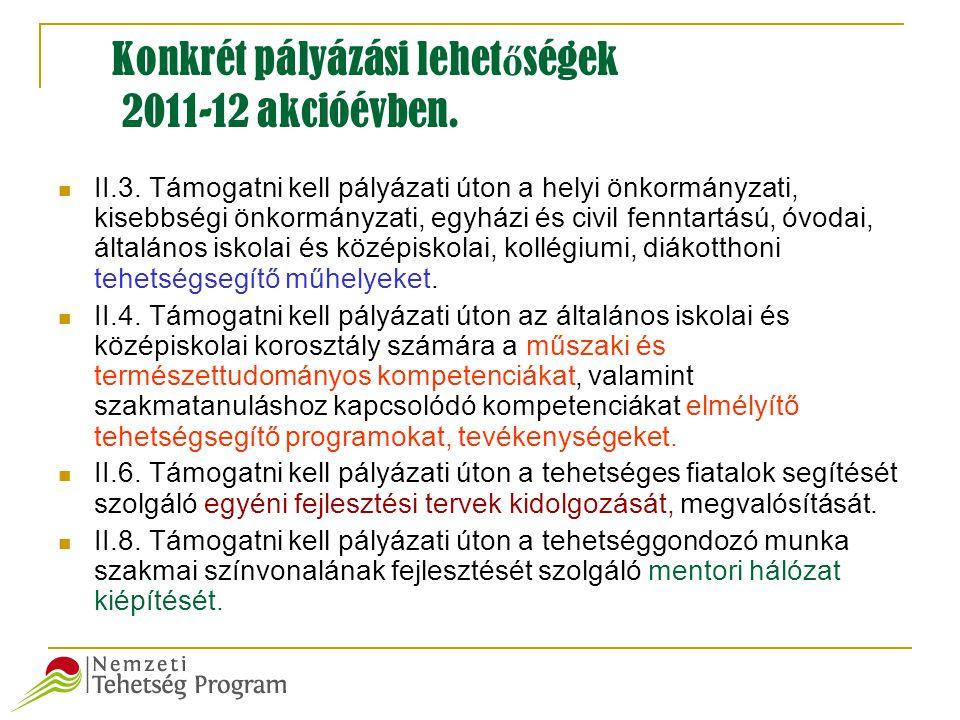 Konkrét pályázási lehet ő ségek 2011-12 akcióévben.  II.3. Támogatni kell pályázati úton a helyi önkormányzati, kisebbségi önkormányzati, egyházi és
