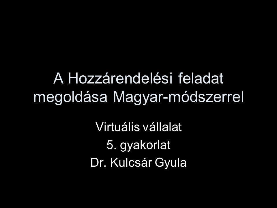 A Hozzárendelési feladat megoldása Magyar-módszerrel Virtuális vállalat 5. gyakorlat Dr. Kulcsár Gyula