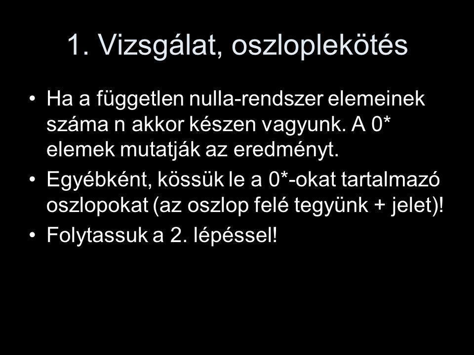 1. Vizsgálat, oszloplekötés •Ha a független nulla-rendszer elemeinek száma n akkor készen vagyunk. A 0* elemek mutatják az eredményt. •Egyébként, köss