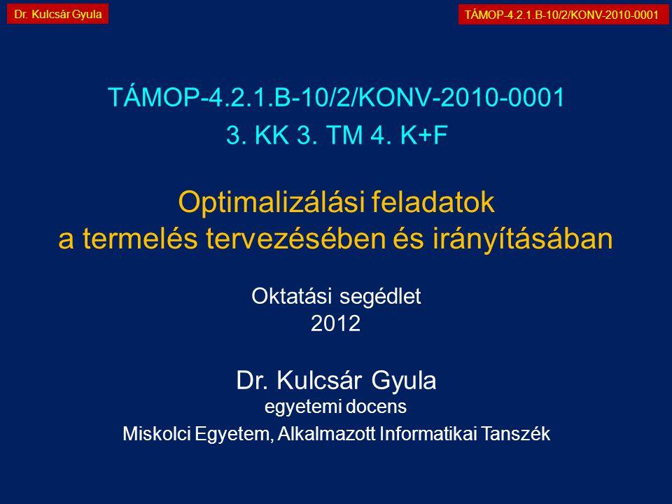 TÁMOP-4.2.1.B-10/2/KONV-2010-0001 Dr. Kulcsár Gyula Optimalizálási feladatok a termelés tervezésében és irányításában TÁMOP-4.2.1.B-10/2/KONV-2010-000