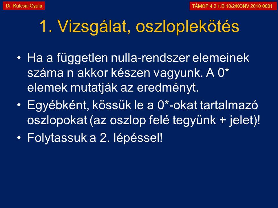 TÁMOP-4.2.1.B-10/2/KONV-2010-0001 Dr. Kulcsár Gyula 1. Vizsgálat, oszloplekötés •Ha a független nulla-rendszer elemeinek száma n akkor készen vagyunk.