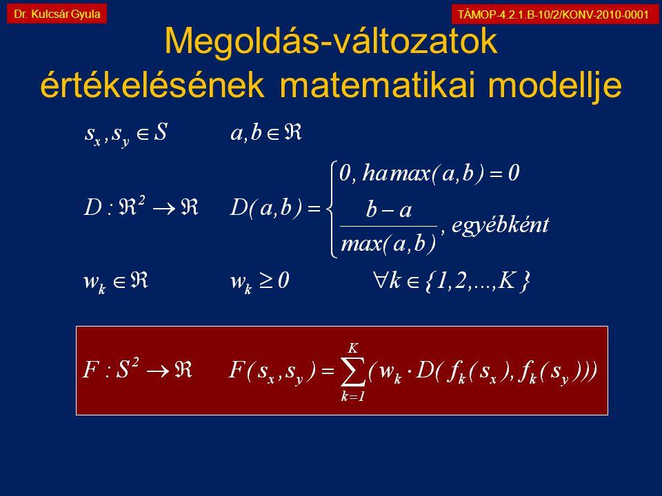 TÁMOP-4.2.1.B-10/2/KONV-2010-0001 Dr. Kulcsár Gyula Megoldás-változatok értékelésének matematikai modellje