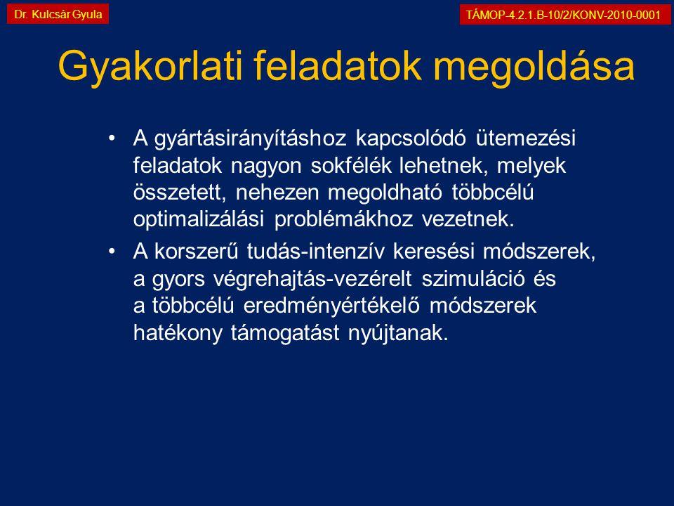 TÁMOP-4.2.1.B-10/2/KONV-2010-0001 Dr. Kulcsár Gyula Gyakorlati feladatok megoldása •A gyártásirányításhoz kapcsolódó ütemezési feladatok nagyon sokfél