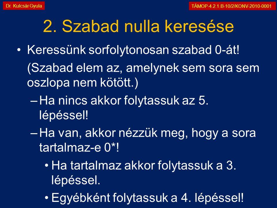 TÁMOP-4.2.1.B-10/2/KONV-2010-0001 Dr. Kulcsár Gyula 2. Szabad nulla keresése •Keressünk sorfolytonosan szabad 0-át! (Szabad elem az, amelynek sem sora
