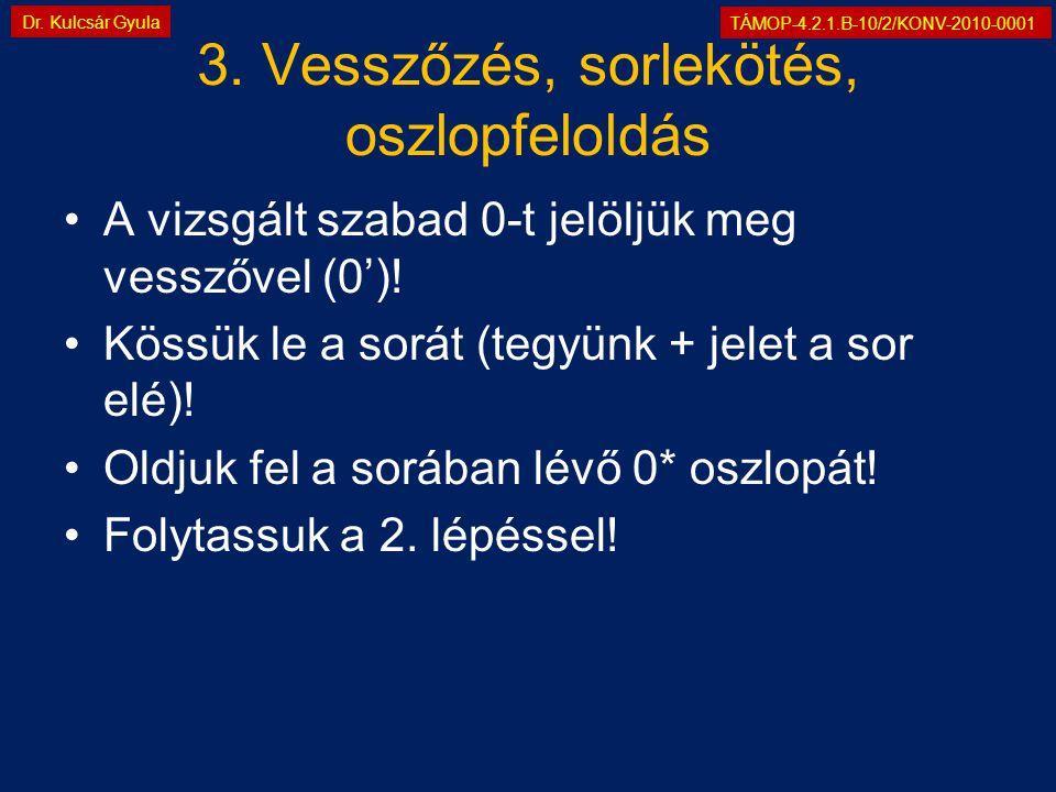 TÁMOP-4.2.1.B-10/2/KONV-2010-0001 Dr. Kulcsár Gyula 3. Vesszőzés, sorlekötés, oszlopfeloldás •A vizsgált szabad 0-t jelöljük meg vesszővel (0')! •Köss