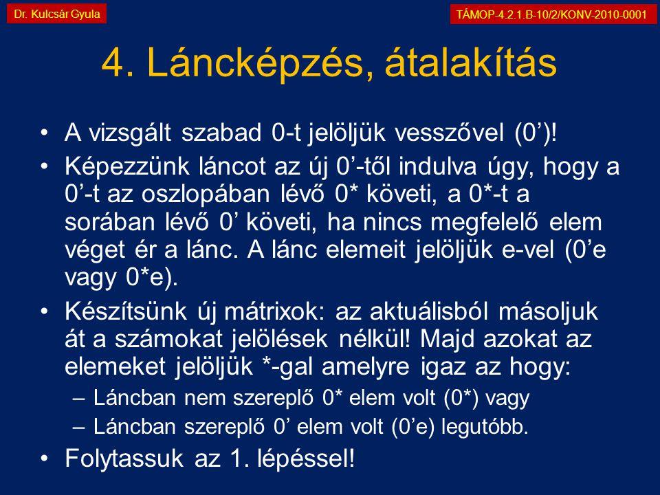 TÁMOP-4.2.1.B-10/2/KONV-2010-0001 Dr. Kulcsár Gyula 4. Láncképzés, átalakítás •A vizsgált szabad 0-t jelöljük vesszővel (0')! •Képezzünk láncot az új